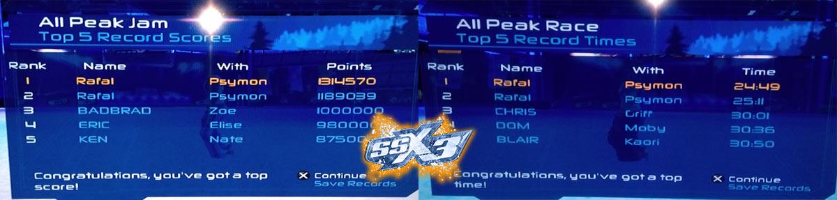 SSX3 hiscore