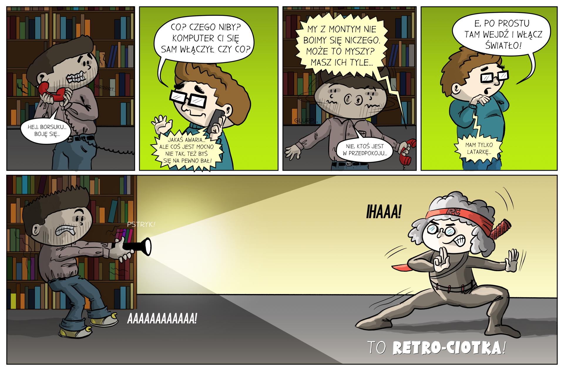 komiks borsuk i larek retro ciotka